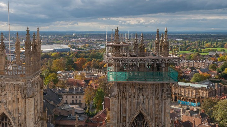 York Minster, England. View from above with the panorama of York.
